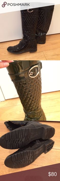"""Stuart weitzman patent leather boots Quilted patent leather """"navigator"""" boot. Inside zipper, decorative silver buckle. Rubber sole. Missing right heel cover. Stuart Weitzman Shoes Winter & Rain Boots"""