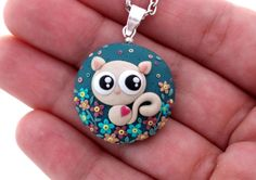 Polymer Clay Pendant Necklace Cat by MemecoShop on Etsy