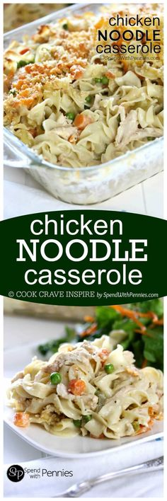 This Creamy Chicken Noodle Casserole recipes are made from scratch! Easy & cheesy it's quick to make loaded up with veggies (not salt) & it tastes amazing too! Great Recipes, Dinner Recipes, Favorite Recipes, Casserole Dishes, Casserole Recipes, Pasta Dishes, Food Dishes, Main Dishes, Comfort Food