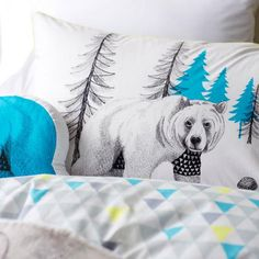Adairs Kids Boys Bear Forest - Bedroom Quilt Covers & Coverlets - Adairs Kids online