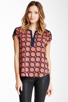 Daniel Rainn Split Neck Blouse. I really like the split neck. Wonder if this is a good color and pattern for me....