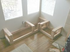 Today I am going to share with you how to make a corner storage bench. This will work for a non corner storage bench as well (that will actu. Kitchen Corner Bench, Corner Bench With Storage, Corner Bench Seating, Kitchen Storage Bench, Kitchen Banquette, Storage Bench Seating, Kitchen Benches, Dining Nook, Table Bench
