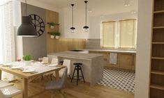 Projekt mieszkania 90m2 ochota - Średnia otwarta kuchnia w kształcie litery u w aneksie, styl nowoczesny - zdjęcie od Grafika i Projekt architektura wnętrz Divider, Interior Design, Table, Room, House, Furniture, Kitchen Ideas, Home Decor, Interiors
