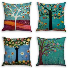 laime Throw Pillow Covers Natural Pattern Decorative Pillowcases Pieces Set) Pillow Cases Home Car Decorative Trees and Birds Decorative Pillow Cases, Decorative Cushions, Throw Pillow Cases, Pillow Covers, Gold Pillows, Watercolor Bird, Patterns In Nature, Linen Fabric, Tree Decorations