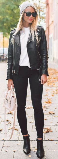 Janni Deler Red Lips And Moto Jacket Fall Streetstyle Inspo