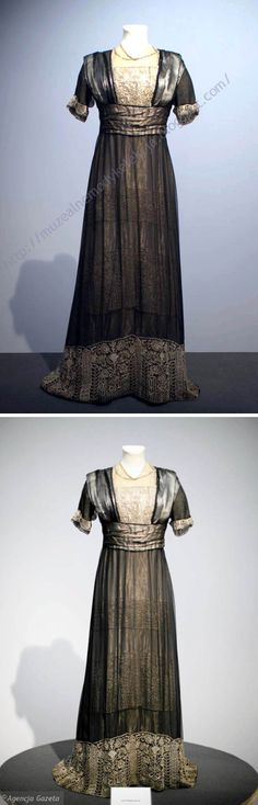 Evening dress, Jean-Philippe Worth, ca. 1908-10. Silk (satin, organza, chiffon) and lace. Two pics with different faults & virtues. Photo: Piotr Szaradowski from Muzealne Mody (Fashion Museum) blog