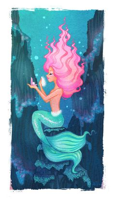 Pink Haired Mermaid by SwissDutchess her hair looks like a tasty dessert