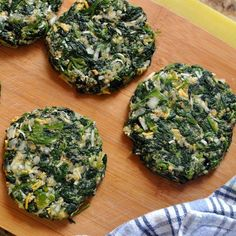 "Spinach ""burgers""...high in protein, low in carbs. (Gong to need something with it, such as brown rice, tomatoes, a little salsa or sauce.. maybe toast points... or serve on a bun.)"