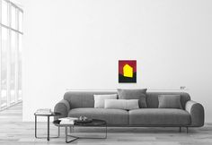 """""""The simple abstract shape of a house evokes so much"""" - Carrie MaKenna https://www.talariagallery.com/art/arthouse-yellow.html?___SID=U #artforsale #talariagallery #fineart #originalart"""