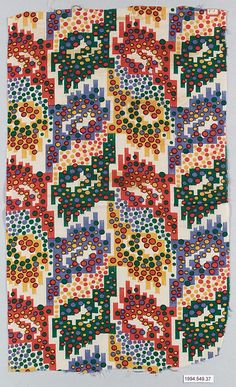 Textile sample Wiener Werkstätte Designer: Unknown Designer Date: 1910–28 Medium: Cotton