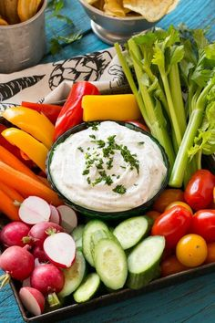 This ranch dip uses a homemade powder that contains no preservatives or MSG.
