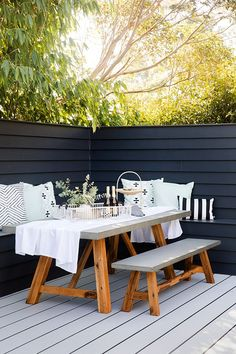 Reno School Tip 🛠 How to create an outdoor dining nook: build privacy screen at edge of deck - we used Linea cladding Scyon attached to a timber frame Outdoor Seating Areas, Outdoor Rooms, Outdoor Furniture Sets, Outdoor Decor, Rustic Furniture, Deck Bench Seating, Antique Furniture, Modern Furniture, Furniture Design