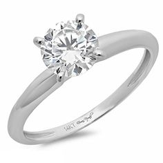 Amazon Collection 2.9 CT Brilliant Round Cut 4-prong Solitaire Engagement Wedding Ring 14k White Gold