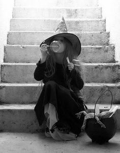 wee witch in black and white
