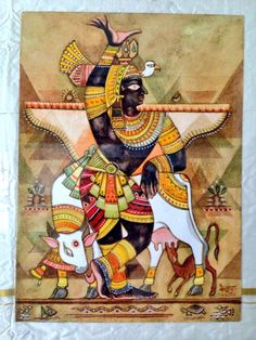 Krishna for today. Goverdhanadhari. Watercolour. The happiness derived from devotional service (to Krsna) is the highest because it is eternal. NECTAR OF DEVOTION, p. 9