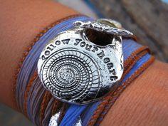 STERLING SILVER Silk Ribbon Bracelet Inspirational by HappyGoLicky, $49.95