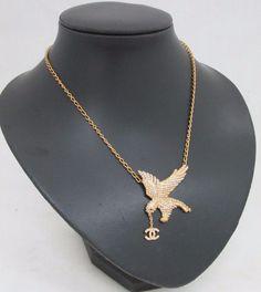 Gorgeous Chanel France Gold Tone Necklace Eagle Pendant w Crystals 01 CC P | eBay