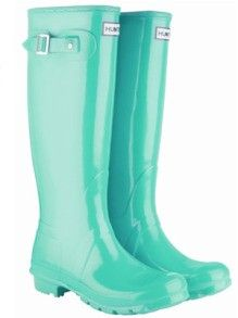 Hunter rain boots in Tiffany Blue. I know someone who would of liked these at our girl gift exchange!