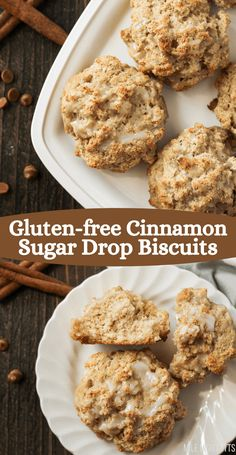 Love gluten-free Cinnamon Rolls but don't want to take the time to make them? These gluten-free Cinnamon Sugar Drop Biscuits are the perfect replacement! These large, fluffy, rustic biscuits are so simple to make, filled with cinnamon sugar flavor, and topped with a light glaze. They're super kid-friendly and perfect for weekend breakfasts or brunch. Gluten Free Cinnamon Rolls, Drop Biscuits, Good Food, Brunch, Sugar, Snacks, Cookies, Healthy, Breakfast