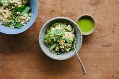 zucchini, millet mint salad with coriander dressing