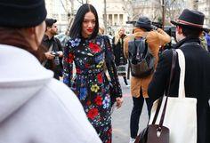 Paris Spring Fashion Week  Street Style 2016, Tiffany Hsu in a Erdem dress with an Altuzarra bag