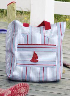 Strandtasche selber nähen mit kleinem Boot - Schnittmuster und Nähanleitung via Makerist.de