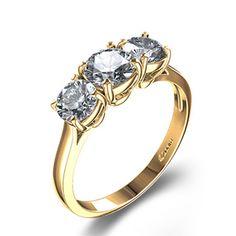Exquisite Three-Stone Diamond Engagement Ring in 18k Yellow Gold