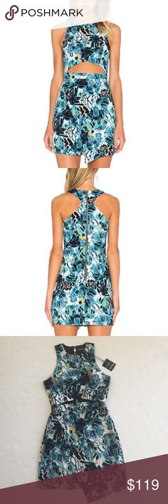 NBD X NAVEN TWINS REALITY BODYCON DRESS BRAND NEW WITH TAGS - It features a fun print for summer, an asymmetrical hem, and a chic midriff cutout! NBD Dresses Mini