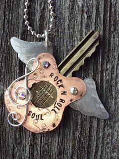 Rock n Roll Soul Recycled Key Necklace #RockNRoll
