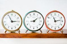 vintage alarm clocks.