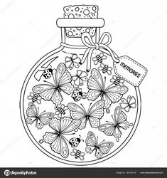 Coloring for adults. Vector Coloring book for adults. A glass vessel with memories of summer. A bottle with bees, butterflies and ladybugs - buy this vector on Shutterstock & find other images. Adult Coloring Book Pages, Colouring Pages, Printable Coloring Pages, Coloring Sheets, Coloring Books, Doodle Coloring, Mandala Coloring, Glass Vessel, Colorful Drawings