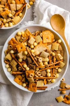 Nuts and bolts snack mix | Brown Eyed Baker Kinds Of Cereal, Homemade Chex Mix, Bagel Chips, Mixed Nuts, Food Gifts, Healthy Snacks, Wooden Spoon, Snack Recipes, Good Food