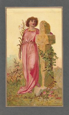 """Victorian Religious Card """"at The Cross"""" Late 1800's 3 5 8 x 6 1 2 Unused 