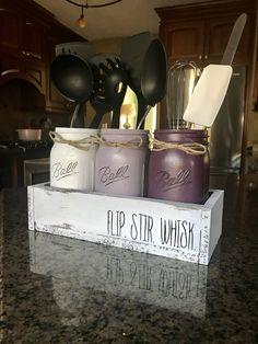 Rae Dunn Inspired Purple Kitchen Utensil Set – The Rustic Peach Easy Home Decor, Home Decor Kitchen, Kitchen Interior, New Kitchen, Kitchen Ideas, Purple Kitchen Decor, Awesome Kitchen, Decorating Kitchen, Design Kitchen