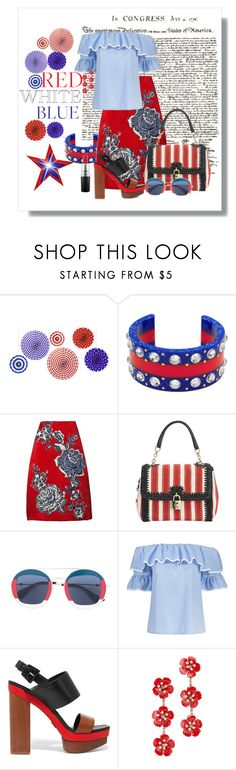 """""""Red, White & Blue: Celebrate the 4th!"""" by sherrie-mock ❤ liked on Polyvore featuring Gucci, Bill Blass, Dolce&Gabbana, Michael Kors, Jennifer Behr, MAC Cosmetics and fourthofjuly"""