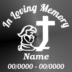 In Loving Memory Angel Wings Decal Window Sticker Personalized - Cross custom vinyl decals for car windows