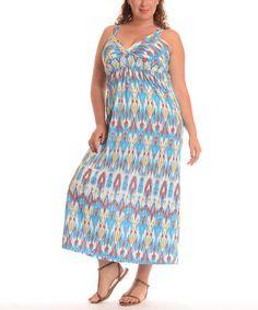 Another great find on #zulily! Blue Ikat Empire-Waist Maxi Dress - Plus by Shoreline #zulilyfinds