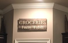DIY Grocery Sign - barnwood hobby lobby 2-1x3 boards for backing- printed letters traced and painted - 3M Velcro strips! #farmhousechic