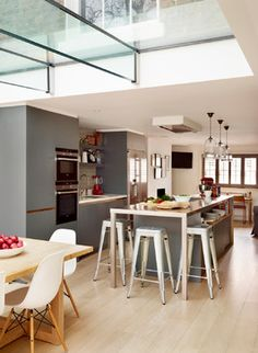 Family kitchen - Contemporary - Kitchen - london - by Roundhouse Bespoke Kitchens, Grey Kitchens, Home Kitchens, Open Plan Kitchen Living Room, New Kitchen, Family Kitchen, Kitchen Ideas, Kitchen Diner Designs, Kitchen Design