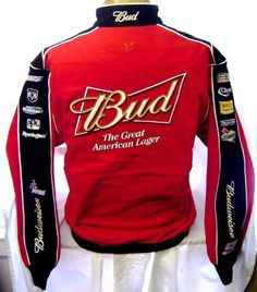 """New 2XL Chase Authentics NASCAR Budweiser Red & Black Nascar Racing Jacket by NASCAR. $79.97. Jacket is Red with a black stripe down each sleeve. Multiple sponser logos are very nicely embroidered on the front and on the sleeves. """"BUD Great American Lager"""" is beautifully embroidered on the back along with the Chase Authentics Logo. """"Budweiser 9"""" is embroidered on the right sleeve."""