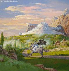 Gandalf Rides to Minas Tirith by Ted Nasmith from The Lord of the Rings Gandalf, Legolas, Minas Tirith, Tolkien Books, J. R. R. Tolkien, Narnia, Fantasy World, Fantasy Art, Fanart
