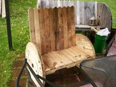 Pallet and Spool Wheel Garden Benches - 130+ Inspired Wood Pallet Projects | 101 Pallet Ideas - Part 10