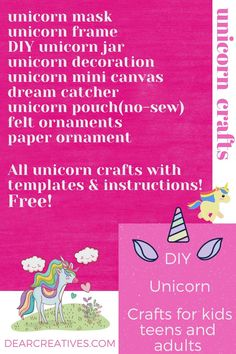 Looking for unicorn diys or unicorn crafts? The best unicorn craft ideas for kids,teens and adults. Make unicorn gifts from many of the unicorn diys. Unicorn Diys, Diy Unicorn Cake, Unicorn Crafts, Halloween Crafts For Kids, Crafts For Teens, Printable Templates, Free Printable, Dream Catcher For Kids, Unicorn Centerpiece