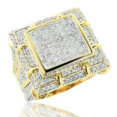 Large Mens Diamond Ring 5.34ct 14K Gold Mens Jewelry