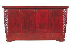Waylon 4-Door Sideboard, Red on OneKingsLane.com  Madera Home transforms aged barn doors, panels from antique armoires, and weathered beams from forgotten temples into exquisite new masterpieces. The furniture is made using only reclaimed wood, material that would otherwise find itself in a landfill as China races to modernize.