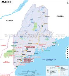 Maine map showing the major travel attractions including cities, points of interest, and more.