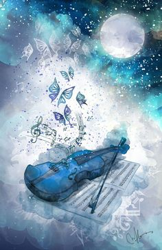 Blue / Moon / Violin art / Wallpaper Source by reclusiveBW Scenery Wallpaper, Nature Wallpaper, Wallpaper Backgrounds, Wallpaper Art, Desktop Wallpapers, Butterfly Wallpaper, Music Drawings, Music Artwork, Blue Drawings