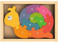 BeginAgain Number Snail Puzzle - Educational Wooden Number Puzzle - Kids 3 and Up Wooden Puzzles, Jigsaw Puzzles, Number Puzzles, Wood Crafts, Diy And Crafts, Creative Crafts, Christmas Picks, 3d Cnc, Wooden Numbers