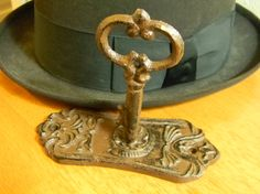 Your place to buy and sell all things handmade Steampunk Hat, Steampunk Fashion, Hat Hooks, Antique Keys, Key Design, Wrought Iron, Vintage Antiques, Door Handles, Clever