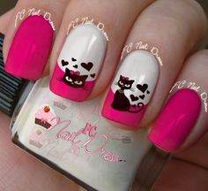 FC Nail Dress latest nail art designs gallery nail designs for short nails easy full nail stickers nail appliques nail stickers walmart Cat Nail Art, Pink Nail Art, Cat Nails, Pink Nails, Fancy Nails, Love Nails, Pretty Nails, Gel Nail Designs, Fabulous Nails